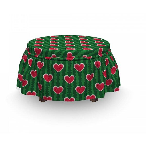 Shoping Hearts Love 2 Piece Box Cushion Ottoman Slipcover Set