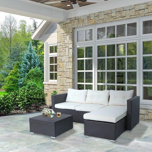 Wendling 3 Piece Rattan Sectional Seating Group with Cushion by Highland Dunes