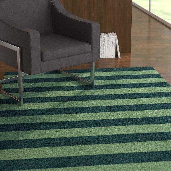 Roeger Stripe Hand-Tufted Wool Green/Dark Green Area Rug by Latitude Run