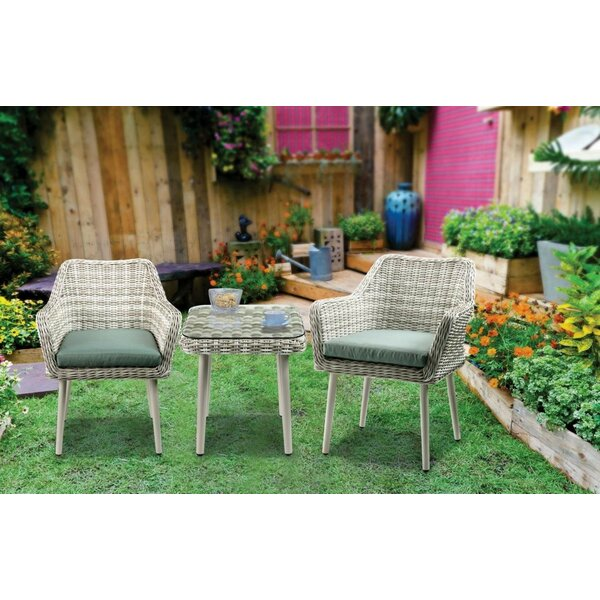 Yuriko 3 Piece Rattan Seating Group with Cushions
