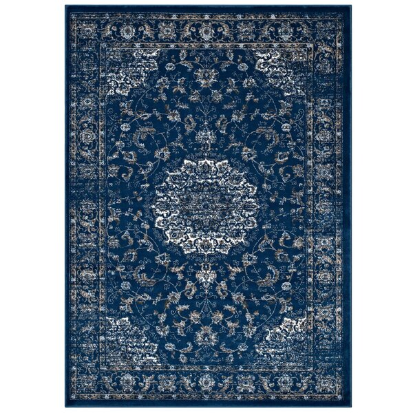 Orlowski Distressed Vintage Persian Medallion Moroccan Blue/Beige/Ivory Area Rug by Bungalow Rose