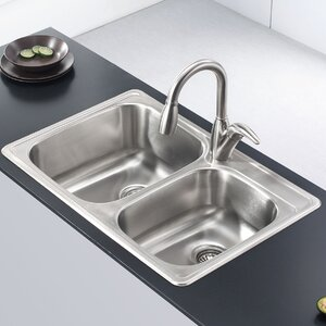 Stainless Steel 33″ x 22″  Double Basin Drop-In Kitchen Sink