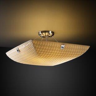 Bamboo ceiling light wayfair thora 3 light bamboo semi flush mount aloadofball Image collections