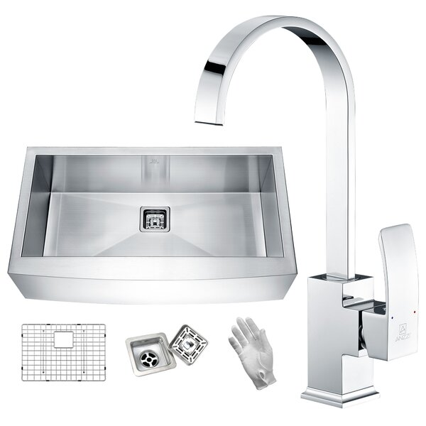 Elysian Stainless Steel 32 L x 21 W Farmhouse Kitchen Sink with Faucet by ANZZI