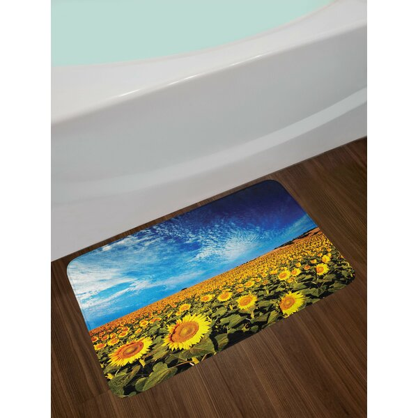 Yellow and Blue Sunflower Bath Rug by East Urban Home