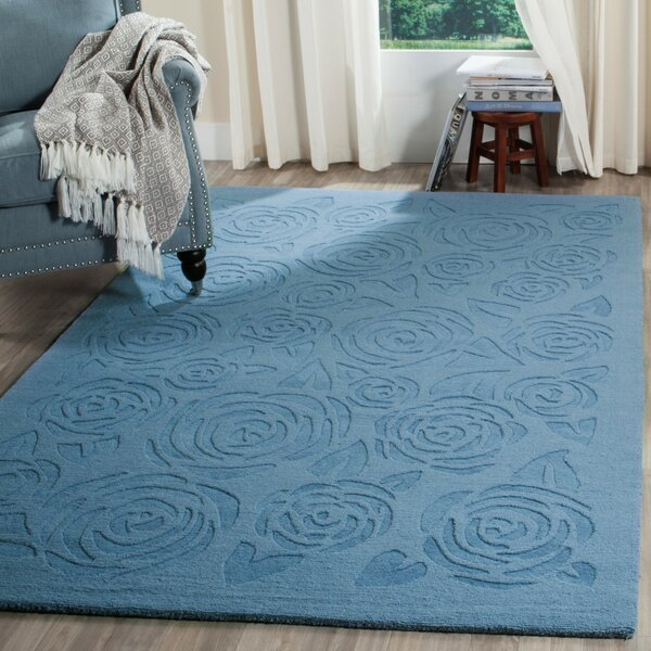 Block Rose Hand-Loomed Thistle Blue Area Rug by Martha Stewart Rugs