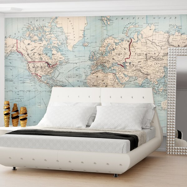 Gilbertson Map of The World Wall Mural by Mercury Row