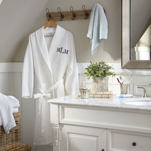 York Monogrammed Waffle Bathrobe by Birch Lane™