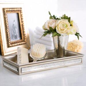 distressed glass bathroom accessory tray