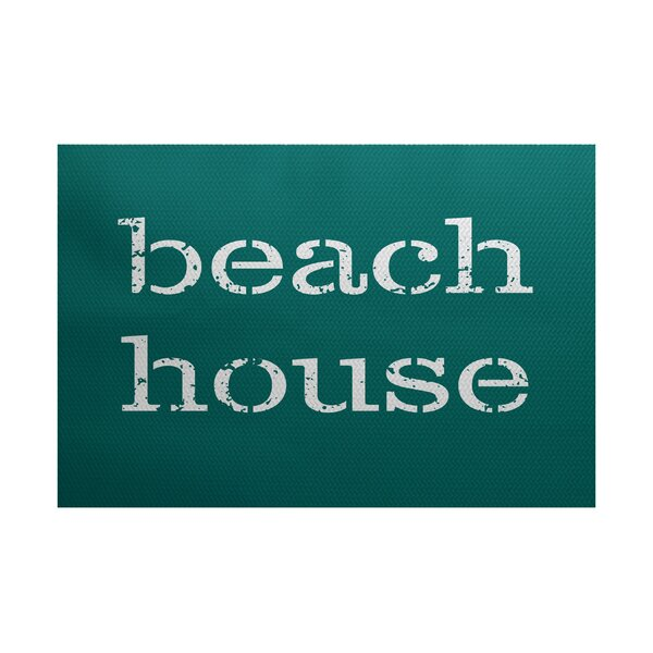 Cedarville Beach House Teal Indoor/Outdoor Area Rug by Highland Dunes
