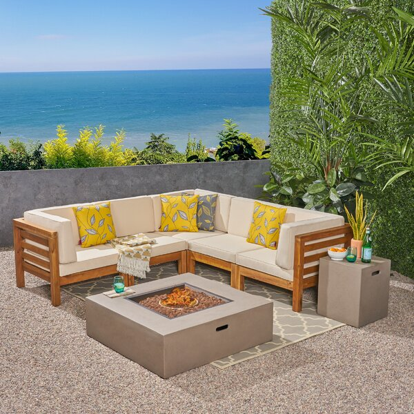 Galindo Outdoor 7 Piece Sectional Seating Group with Cushions by Rosecliff Heights