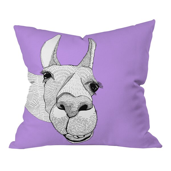 Casey Rogers Llama Outdoor Throw Pillow by Deny Designs
