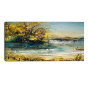 Trees by the Lake Landscape Painting Print on Wrapped Canvas by Design Art