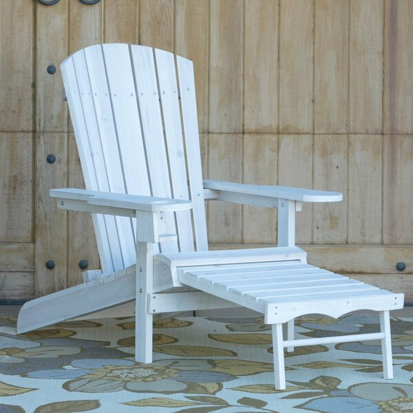 Kaelynn Muskoka Wood Folding Adirondack Chair with Ottoman by Highland Dunes Highland Dunes