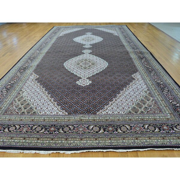 One-of-a-Kind Beason Handwoven Black Wool/Silk Area Rug by Isabelline