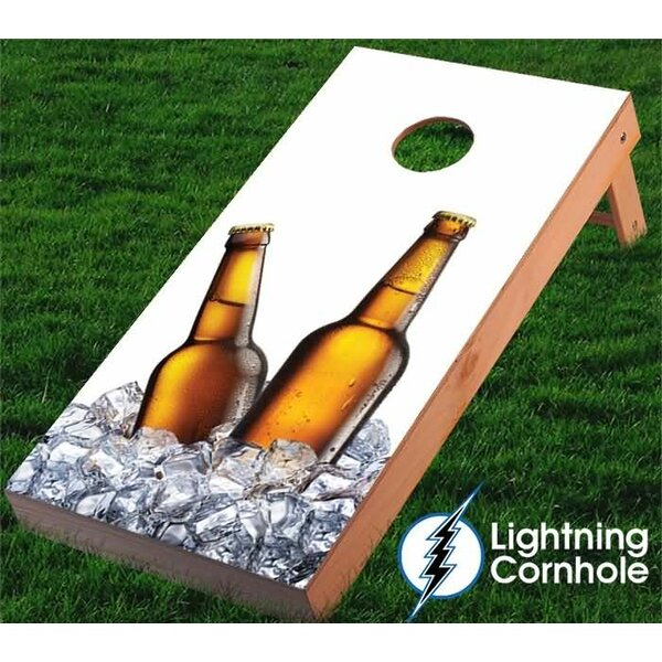 Beer Bottles and Ice Cornhole Board by Lightning Cornhole