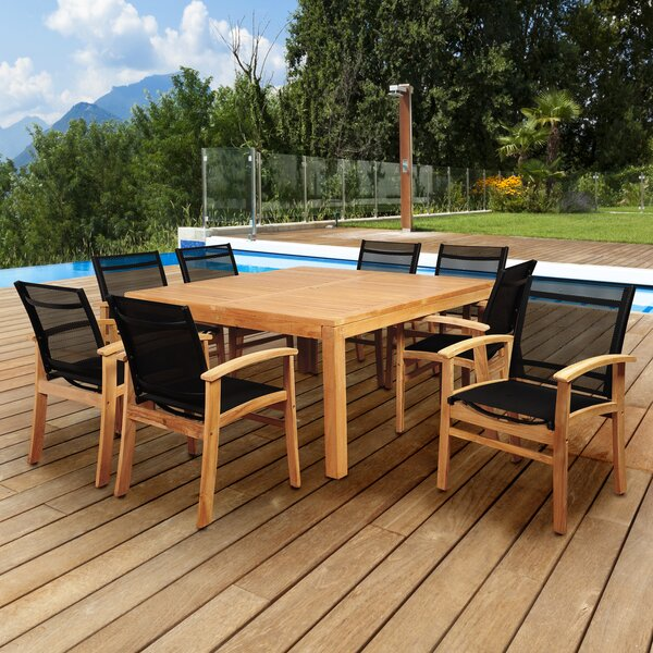 Medrano Sunset View 9 Piece Teak Dining Set by Longshore Tides
