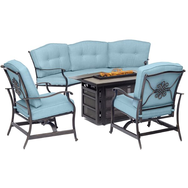 Carleton 4-Piece Fire Pit Lounge Set in Blue with Crescent Sofa, 2 Cushioned Rockers and Rectangular KD Tile-Top Fire Pit