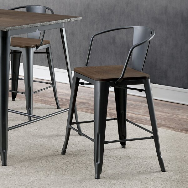 #1 Kayman Industrial Counter Height Dining Chair (Set Of 4) By 17 Stories Spacial Price