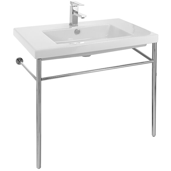 Cangas Ceramic 32 Console Bathroom Sink with Overflow by Ceramica Tecla by Nameeks