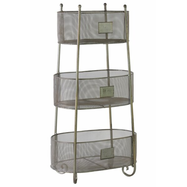 28.25 H x 14.75 W Iron Oval Shelving Unit with 3 Wire Mesh Sides Bins and 3 Slots by Benzara