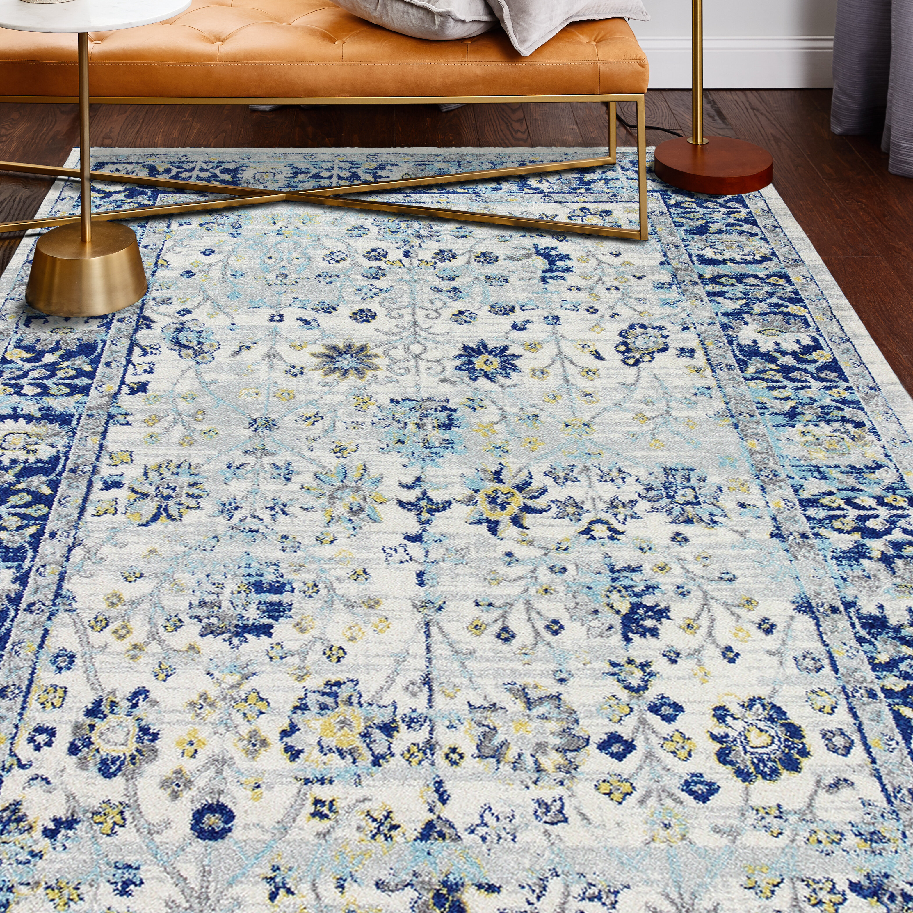 Chupp Ivory Blue Yellow Area Rug Reviews Joss Main