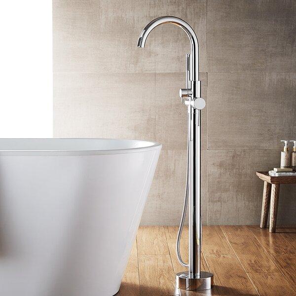 Berkeley Single Handle Floor Mount Freestanding Tub Filler Trim with Hand Shower by Vinnova