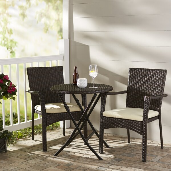 Grampian 3 Piece Bistro Set with Cushions by Three Posts