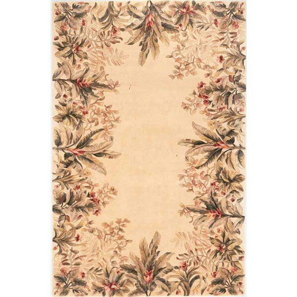 Marion Ivory Tropical Border Area Rug by Bay Isle Home