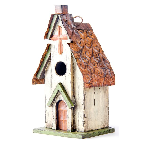 Church Hanging 12 in x 7 in x 5 in Birdhouse by Glitzhome