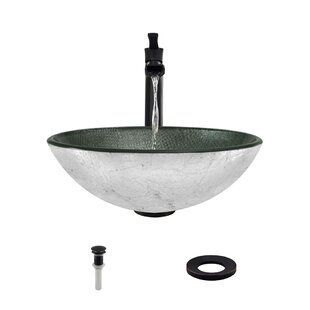 Best Mesh Glass Circular Vessel Bathroom Sink with Faucet By MR Direct