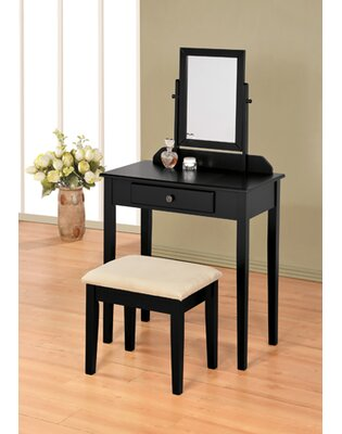 Mooney Vanity Set with Mirror Color: Black