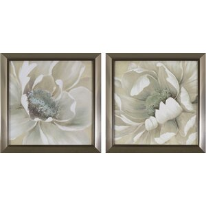 'Antiqued White Flowers' 2 Piece Framed Set by Willa Arlo Interiors