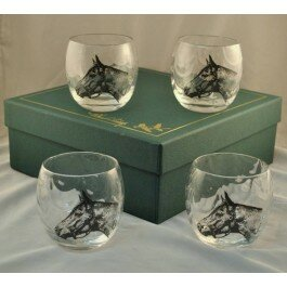 Seabiscuit 11 Oz. Optic Roly Poly Glass (Set of 4) by Richard E. Bishop