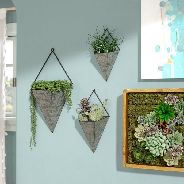 Amoroso Triangular Galvanized 3-Piece Metal Wall Planters Set by Ivy Bronx