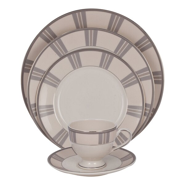 Linen 5 Piece Ivory China Place Setting, Service for 1 (Set of 4) by Shinepukur Ceramics USA, Inc.
