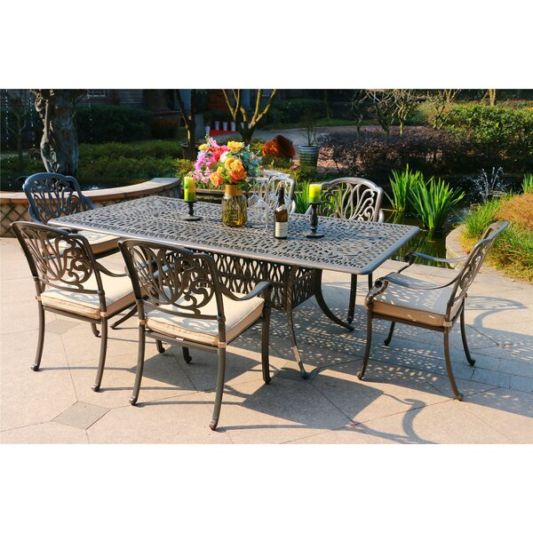 Baran Aluminum 7 Piece Sunbrella Dining Set with Sunbrella Cushions by Canora Grey
