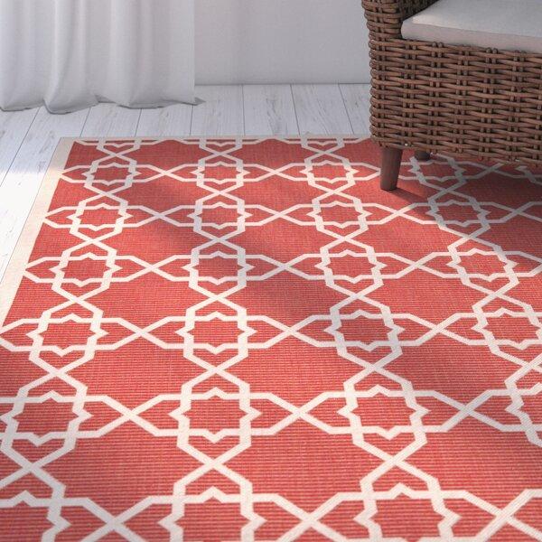 Ceri Machine Woven Red/Beige Indoor/Outdoor Rug by Beachcrest Home