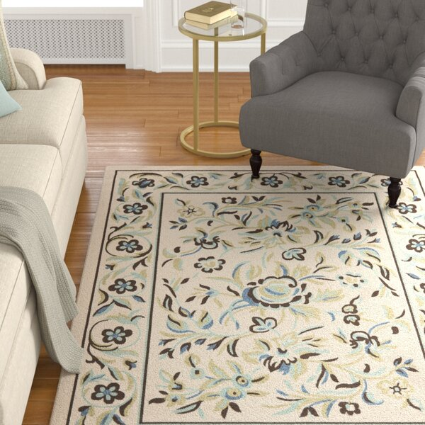 Rennie Cream / Green Indoor/Outdoor Area Rug by Charlton Home