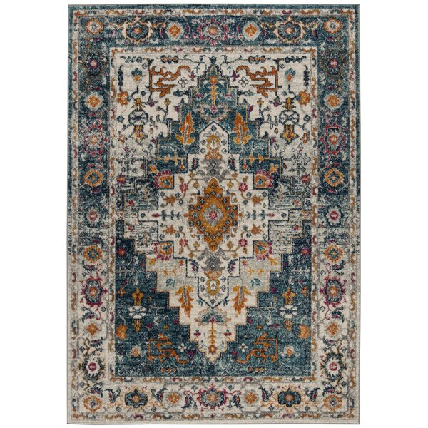 Grieve Turquoise/Ivory Area Rug by Bungalow Rose