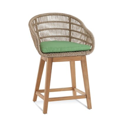 Teak Patio Dining Chair with Cushion Braxton Culler Cushion Color: 6350-94
