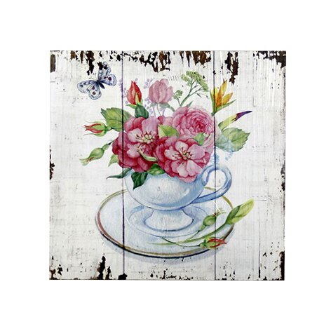 Print on Wood in White/Pink by August Grove