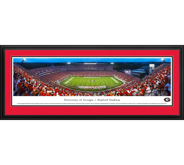 NCAA Georgia, University of - 50 Yard Line - Twilight by Robert Pettit Framed Photographic Print by Blakeway Worldwide Panoramas, Inc