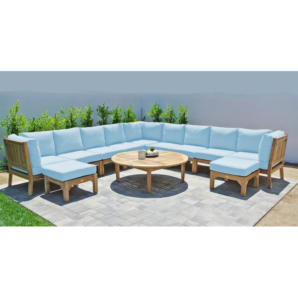 Crescio Deluxe 12 Piece Teak Sectional Seating Group with Sunbrella Cushions by Foundry Select