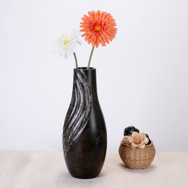 Brie Tear Drop Mango Wood Table Vase by World Menagerie