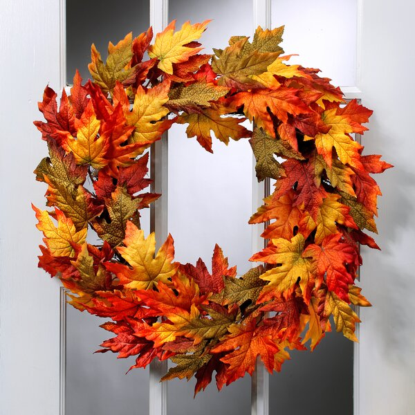 26 Harvest Maple Leaf Wreath by August Grove