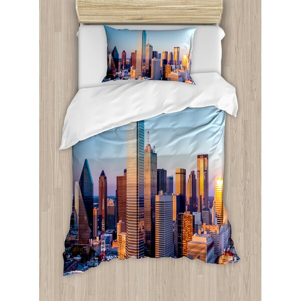 Dallas Texas City with Sky at Sunset Metropolitan Finance Urban Center Duvet Set by East Urban Home