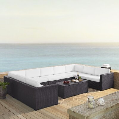 Rattan Sectional Seating Group Cushions Fabric Product Photo