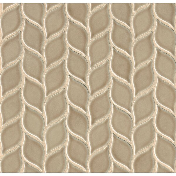 Park Place Foliole Ceramic Mosaic Tile in Brown by Grayson Martin