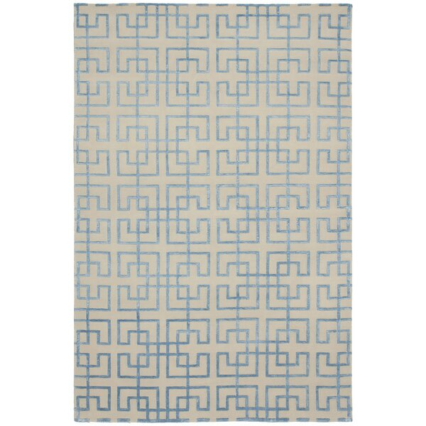 Broadway Hand-Knotted Beige/Blue Area Rug by Shalom Brothers